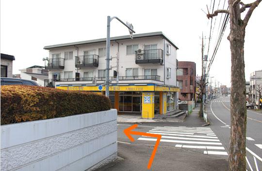 ゆるやかな坂を進んで頂くと左手に黄色い建物が目印のノムラ薬局様がありますので手前を左に曲がって下さい。